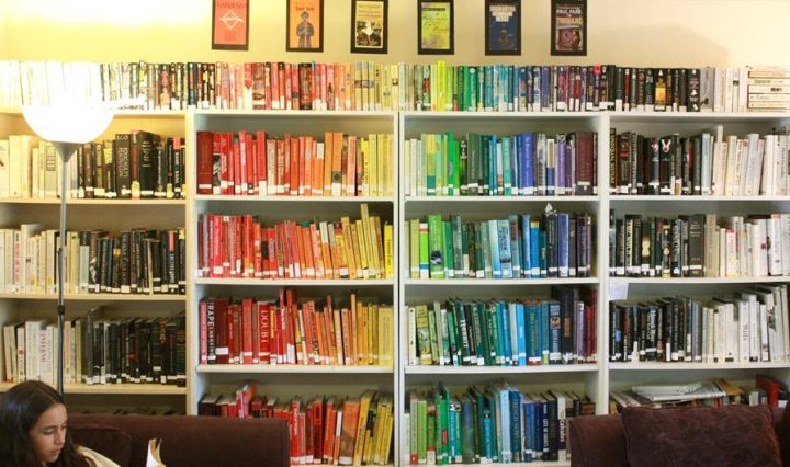 bookshelf with books with many colours