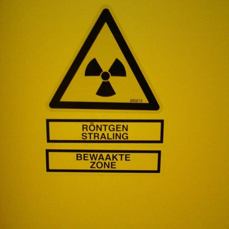 nuclear energy radiation symbol in yellow and black