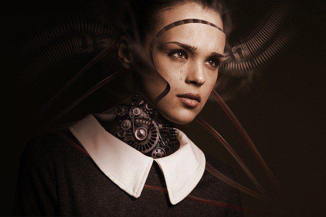 a girl with a half mechanical robotic face. esl robot conversation questions